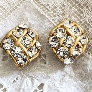 Vintage Norma Jean Rhinestone Clip Earrings
